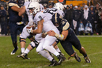 Pitt linebacker Quintin Wirginis (58) sacks Penn State quarterback Trace McSorley. The Penn State Nittany Lions defeated the Pitt Panthers 51-6 on September 08, 2018 at Heinz Field in Pittsburgh, Pennsylvania.