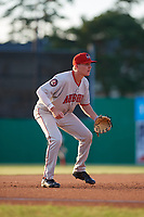 Auburn Doubledays third baseman Jack Dunn (15) during a NY-Penn League game against the Batavia Muckdogs on June 18, 2019 at Dwyer Stadium in Batavia, New York.  Batavia defeated Auburn 7-5.  (Mike Janes/Four Seam Images)