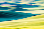Colorful yellow and blue abstract of wheat field in Palouse Region of Washington