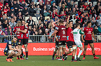 The Crusaders celebrate at the final whistle of the 2020 Super Rugby match between the Crusaders and Highlanders at Orangetheory Stadium in Christchurch, New Zealand on Saturday, 9 August 2020. Photo: Joe Johnson / lintottphoto.co.nz