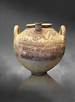 Mycenaean spouted clay pithos decorated with spirals and bands, Grave VI, Grave Circle A, Mycenae 16-15 Cent BC. National Archaeological Museum Athens. Cat No 8580.  Grey art Background