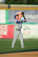 Bluefield Blue Jays shortstop Aaron Attaway (5) settles under a fly ball during the game against the Burlington Royals at Burlington Athletic Park on June 29, 2015 in Burlington, North Carolina.  The Royals defeated the Blue Jays 4-1. (Brian Westerholt/Four Seam Images)