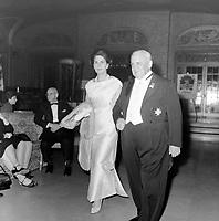 Le Lieutenant- Gouverneur du Quebec Paul Comptois<br />  lors de la visite d'Andre Malraux ministre culturel de France  a Quebec<br /> , le  11 octobre 1963.<br /> <br /> Photographe : Photo Moderne<br /> - Agence Quebec Presse
