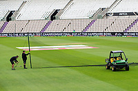 Encouraging signs as nets are erected at the Hampshire Bowl ahead of play during India vs New Zealand, ICC World Test Championship Final Cricket at The Hampshire Bowl on 19th June 2021