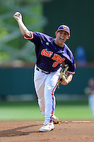 Starting Pitcher Dominic Leone #6 delivers a pitch during a  game against the Miami Hurricanes at Doug Kingsmore Stadium on March 31, 2012 in Clemson, South Carolina. The Tigers won the game 3-1. (Tony Farlow/Four Seam Images).