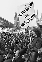 - demonstration of all the political parties in Duomo square  for the kidnapping of the first minister Aldo Moro by the terroristic group Red Brigades (Milan, Mars 1978)<br /> <br /> - manifestazione di tutti i partiti politici in piazza del Duomo per il rapimento del primo ministro Aldo Moro da parte del gruppo terroristico Brigate Rosse (Milano, marzo 1978)