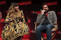 """NEW YORK CITY - OCTOBER 10: Natasia Demetriou and Matt Berry attend a 2021 New York Comic Con event for FX's """"What We Do In The Shadows"""" at the Javits Center on October 10, 2021 in New York City.  (Photo by Ben Hider/FX//PictureGroup)"""