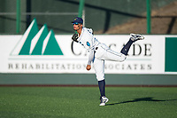 Everett AquaSox right fielder Jansiel Rivera (36) throws to the infield during a Northwest League game against the Tri-City Dust Devils at Everett Memorial Stadium on September 3, 2018 in Everett, Washington. The Everett AquaSox defeated the Tri-City Dust Devils by a score of 8-3. (Zachary Lucy/Four Seam Images)