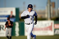 Lancaster JetHawks third baseman Tyler Nevin (16) rounds the bases after hitting a home run during a California League game against the Visalia Rawhide at The Hangar on May 17, 2018 in Lancaster, California. Lancaster defeated Visalia 11-9. (Zachary Lucy/Four Seam Images)