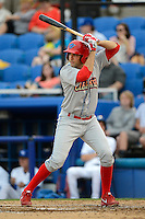 Clearwater Threshers first baseman Chris Serritella #26 during a game against the Dunedin Blue Jays at Florida Auto Exchange Stadium on April 4, 2013 in Dunedin, Florida.  Dunedin defeated Clearwater 4-2.  (Mike Janes/Four Seam Images)