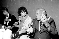 Corinne Cote_Levesque and her husband Rene Levesque talk to medias juste before  his  tribute at Montreal's convention centre, October 2nd,1985.<br /> <br /> File Photo : Agence Quebec Presse - Pierre Roussel