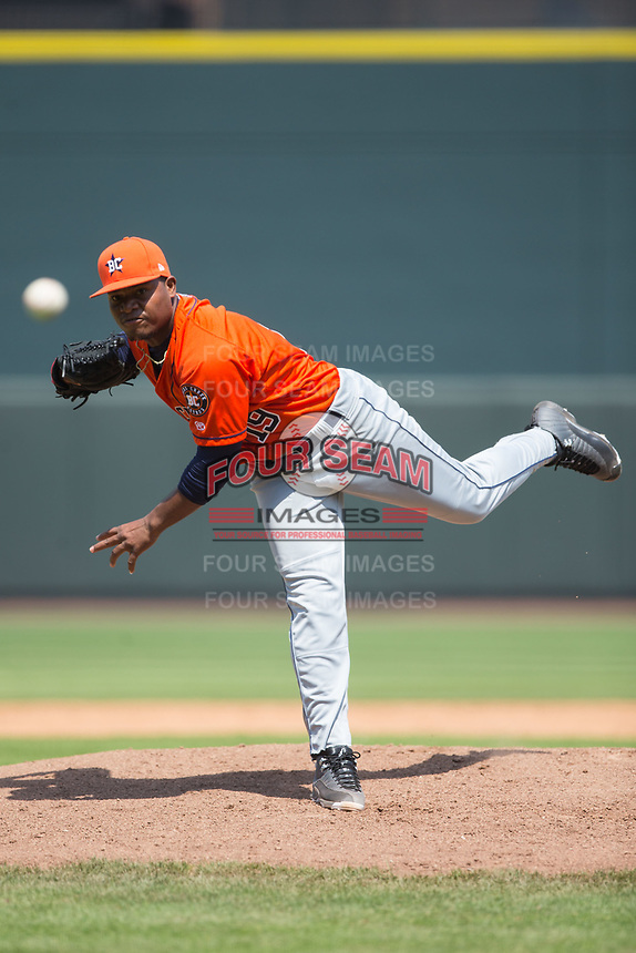 Buies Creek Astros starting pitcher Framber Valdez (19) delivers a pitch to the plate against the Winston-Salem Dash at BB&T Ballpark on April 16, 2017 in Winston-Salem, North Carolina.  The Dash defeated the Astros 6-2.  (Brian Westerholt/Four Seam Images)