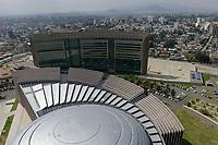 ETHIOPIA Addis Ababa, AU African Union new building, constructed and gifted by China, view from tower on the hall / AETHIOPIEN, Addis Abeba, neues Gebaeude der AU Afrikanischen Union, gebaut und geschenkt von China, Blick vom Tower auf die Halle