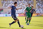 Tomiyasu Takehiro of Japan (L) in action during the AFC Asian Cup UAE 2019 Group F match between Japan (JPN) and Turkmenistan (TKM) at Al Nahyan Stadium on 09 January 2019 in Abu Dhabi, United Arab Emirates. Photo by Marcio Rodrigo Machado / Power Sport Images
