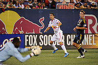 Juan Pablo Angel (9) of the New York Red Bulls watches as goalkeeper Donovan Ricketts (1) of the Los Angeles Galaxy makes a save. The Los Angeles Galaxy defeated the New York Red Bulls 3-1 during a Major League Soccer match at Giants Stadium in East Rutherford, NJ, on July 16, 2009.