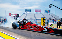 Jul 11, 2020; Clermont, Indiana, USA; NHRA top fuel driver Steve Torrence during qualifying for the E3 Spark Plugs Nationals at Lucas Oil Raceway. This is the first race back for NHRA since the start of the COVID-19 global pandemic. Mandatory Credit: Mark J. Rebilas-USA TODAY Sports