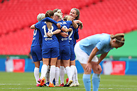 29th August 2020; Wembley Stadium, London, England; Community Shield Womens Final, Chelsea versus Manchester City; Erin Cuthbert of Chelsea Women celebrates with team mates after she scores for 0-2 late in the game