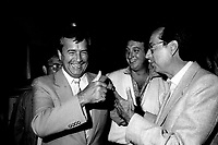 August 23, 1985 File Photo - Claude Lanthier, Federal MP, (L) Claude Dauphin, MNA, Lachine (M) and Robert Bourassa, Premier, Quebec (R)  attend an activity of the Quebec Liberal Party's Lachine section