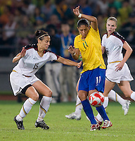 Kate Markgraf, Cristiane. The USWNT defeated Brazil, 1-0, to win the gold medal during the 2008 Beijing Olympics at Workers' Stadium in Beijing, China.