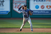 West Michigan Whitecaps third baseman Nick Quintana (10) makes a throw to first base against the Fort Wayne TinCaps at Parkview Field on August 5, 2019 in Fort Wayne, Indiana. The TinCaps defeated the Whitecaps 9-3. (Brian Westerholt/Four Seam Images)