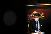 The Italian Premier Giuseppe Conte during the information at the Senate about the government crisis.<br /> Rome(Italy), January 19th 2021<br /> Photo Pool Alessia Pierdomenico/Insidefoto