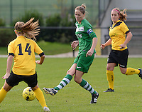 20151024 - ZWEVEZELE , BELGIUM : Mariska Hufkens pictured during a soccer match between the women teams of SKV Zwevezele Ladies and KSOC Maria Ter Heide  , during the eight matchday in the Third League - Derde Nationale season, Saturday 24 October 2015 . PHOTO DAVID CATRY