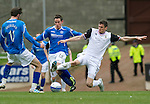 St Johnstone v Inverness Caley Thistle....07.04.12   SPL.Kevin Moon and Owain Tudor-Jones.Picture by Graeme Hart..Copyright Perthshire Picture Agency.Tel: 01738 623350  Mobile: 07990 594431