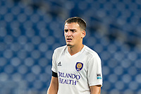 FOXBOROUGH, MA - AUGUST 7: Jose Quintero #59 of Orlando City B during a game between Orlando City B and New England Revolution II at Gillette Stadium on August 7, 2020 in Foxborough, Massachusetts.