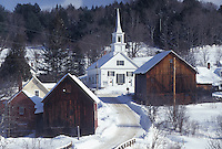 winter, Vermont, VT, Scenic village of Waits River in the snow in the winter.