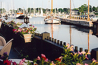 Sailboats are Docked Near Wickford's Beach Rose Cafe