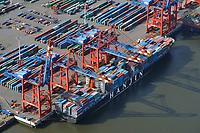 Hanjin Mumbai am Euroate: EUROPA, DEUTSCHLAND, HAMBURG, (EUROPE, GERMANY), 05.10.2009: Europa, Deutschland, Hamburg,  am Tag, am Tage, am Tage Tag tagsueber, Athabaskakai, Eurogate, Container Terminal, Container-Terminal, Container, Globalisierung, Logistik, Transport, internationaler Handel, Welthandel, Container-Terminal Burchardkai, Containerbruecke, Containerbruecken, Containerfrachter, Containerhaefen, Containerhafen, Umschlaghafen, Containerlogistik, Containerriese, Containerriesen, Containerschiff, Containerschiffe, Containerterminal, Containerumschlag, Containerverkehr, Eurogate, Haefen, Hafen, Hafenwirtschaft, HHLA, Luftaufnahme, Luftaufnahmen, Luftbild, Luftbilder, Luftfoto, Luftfotos, Luftphoto, Luftphotos, Schiff, Schiffe, Seehaefen, Seehafen, Universalhafen, Vogelperspektive, Vogelperspektiven, Waltershof, Waltershoferhafen Waltershofer Hafen, Wirtschaft, Wirtschaftszweigarbeitgeber, containerfrachter, containerfracht, containerschiff, containerterminal, frachtgut, frachtkahn, frachtraum, frachttransport, frachtverkehr, geographie, grossraumbehaelter, grossstadt, hanjin, hhla, isocontainer, liegeplatz, liegezeit, metropol, reise, schiffsladung, seefracht, ueberseehafen, ueberseetransport, umschlagplatz, verkehr, warenumschlag, warenverkehr, wassertransport, wassertransportwege, wirtschaft, arbeit, ausfahrt, ausfuhr, <br />c o p y r i g h t : A U F W I N D - L U F T B I L D E R . de<br />G e r t r u d - B a e u m e r - S t i e g 1 0 2, <br />2 1 0 3 5 H a m b u r g , G e r m a n y<br />P h o n e + 4 9 (0) 1 7 1 - 6 8 6 6 0 6 9 <br />E m a i l H w e i 1 @ a o l . c o m<br />w w w . a u f w i n d - l u f t b i l d e r . d e<br />K o n t o : P o s t b a n k H a m b u r g <br />B l z : 2 0 0 1 0 0 2 0 <br />K o n t o : 5 8 3 6 5 7 2 0 9<br />V e r o e f f e n t l i c h u n g  n u r  n a c h  H o n o r a r  a b s p r a c h e, N a m e n s n e n n u n g  u n d  B e l e g e x e m p l a r !
