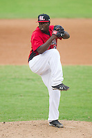 Relief pitcher Miguel De Los Santos #18 of the Hickory Crawdads in action against the Kannapolis Intimidators at  L.P. Frans Stadium August 1, 2010, in Hickory, North Carolina.  Photo by Brian Westerholt / Four Seam Images