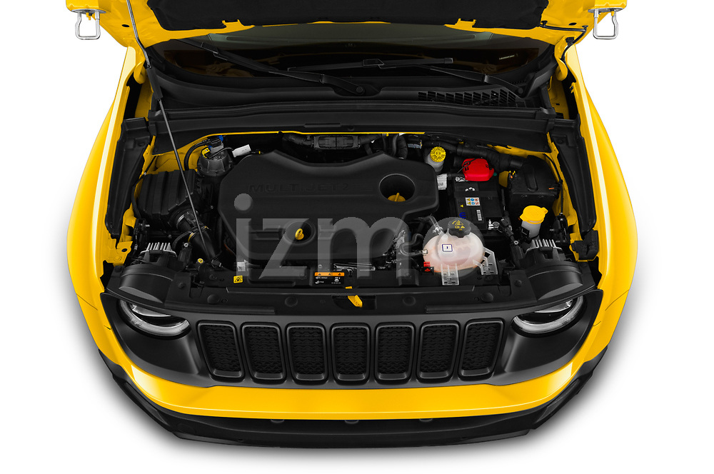 Car Stock 2019 JEEP Renegade Trailhawk 5 Door SUV Engine  high angle detail view