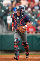 Lehigh Valley IronPigs catcher Andrew Knapp (15) backs up the play during a game against the Buffalo Bisons on July 9, 2016 at Coca-Cola Field in Buffalo, New York.  Lehigh Valley defeated Buffalo 9-1 in a rain shortened game.  (Mike Janes/Four Seam Images)