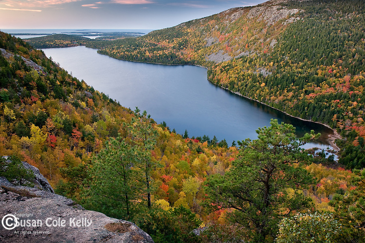 Autumn sunrise on Jordan Pond from North Bubble Mountain, Acadia National Park, ME