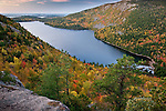 Autumn sunrise on Jordan Pond from North Bubble Mountain, Acadia National Park, ME