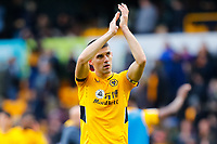 2nd October 2021;  Molineux Stadium, Wolverhampton,  West Midlands, England; EFL Cup football, Wolverhampton Wanderers versus Newcastle United; Conor Coady of Wolverhampton Wanderers applauds the home fans after the final whistle