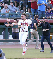 Braxton Davidson of the Peoria Javelinas hit the walk-off home run in the 2018 Arizona Fall League championship game won by the Javelinas, 3-2 in 10 innings, over the Salt River Rafters at Scottsdale Stadium on November 17, 2018 in Scottsdale, Arizona. Davidson fractured his left leg while rounding the bases after the home run (Bill Mitchell)