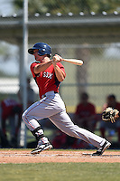 Boston Red Sox Sam Travis (12) during a minor league spring training game against the Baltimore Orioles on March 20, 2015 at Buck O'Neil Complex in Sarasota, Florida.  (Mike Janes/Four Seam Images)