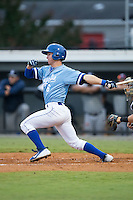 Ben Johnson (6) of the Burlington Royals follows through on his swing against the Pulaski Yankees at Burlington Athletic Park on August 6, 2015 in Burlington, North Carolina.  The Royals defeated the Yankees 1-0. (Brian Westerholt/Four Seam Images)