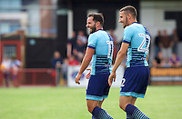 Sam Wood of Wycombe Wanderers and Nick Freeman of Wycombe Wanderers during the Friendly match between Maidenhead United and Wycombe Wanderers at York Road, Maidenhead, England on 30 July 2016. Photo by Alan  Stanford PRiME Media Images.
