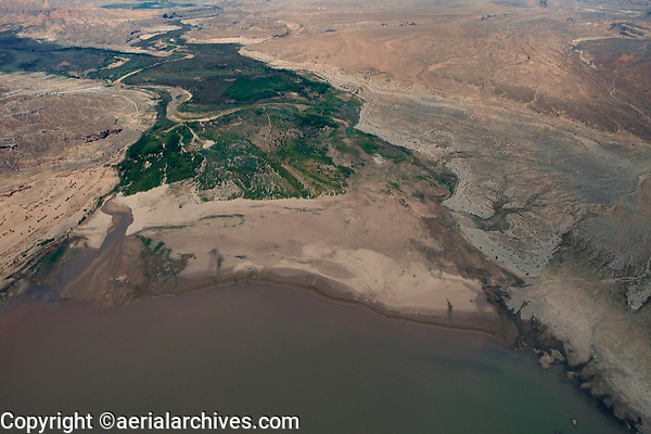aerial photograph of the mouth of the Virgin River as it enters Lake Mead at Moapa Valley, Nevada; during the drought, the river has been reduced to a muddy trickle