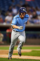 Charlotte Stone Crabs catcher Nick Ciuffo (14) runs to first during a game against the Clearwater Threshers on April 12, 2016 at Bright House Field in Clearwater, Florida.  Charlotte defeated Clearwater 2-1.  (Mike Janes/Four Seam Images)