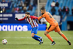 "Yannick Ferreira Carrasco (l) of Atletico de Madrid competes for the ball with Tiago Manuel Dias Correia ""Bebe"" of SD Eibar during their Copa del Rey 2016-17 Quarter-final match between Atletico de Madrid and SD Eibar at the Vicente Calderón Stadium on 19 January 2017 in Madrid, Spain. Photo by Diego Gonzalez Souto / Power Sport Images"