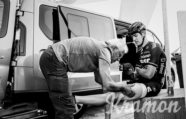"""pre-race rub for Toon Aerts (BEL/Telenet Fidea Lions)<br /> <br /> Antwerp Port Epic 2018 (formerly """"Schaal Sels"""")<br /> One Day Race:  Antwerp > Antwerp (207 km; of which 32km are cobbles & 30km is gravel/off-road!)"""