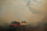 Members of the Fire brigade from Sesc Porto Cercado hotel in the Pantanal of Mato Grosso,  watch a plane drop a load of water on a wildfire that has broken out near the hotel. <br /> <br /> Since the beginning of 2020, the Pantanal has been facing the largest destruction by burning in its history. From January to September, fires burned 3,977,000 hectares of the Pantanal, which corresponds to 26.5% of the entire biome, killing a vast amount of the region's wildlife.