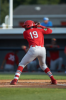 Sanel Rosendo (19) of the Johnson City Cardinals at bat against the Burlington Royals at Burlington Athletic Stadium on July 15, 2018 in Burlington, North Carolina. The Cardinals defeated the Royals 7-6.  (Brian Westerholt/Four Seam Images)