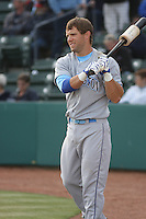 Alex Gordon #27 of the Wilmington Blue Rocks on deck before hitting against the Myrtle Beach Pelicans on April 10, 2010  in Myrtle Beach, SC. Gordon was on a rehab assignment for the Kansas City Royals.