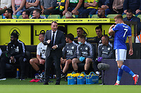 28th August 2021; Carrow Road, Norwich, Norfolk, England; Premier League football, Norwich versus Leicester; Leicester City Manager Brendan Rogers speaks with Harvey Barnes