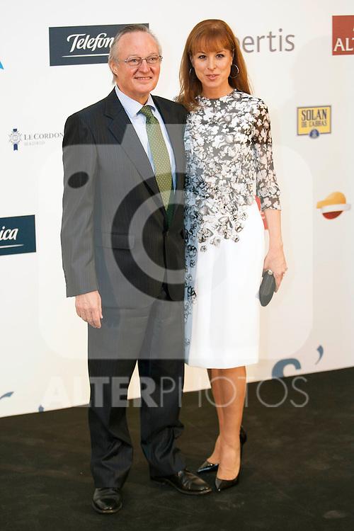 """King Felipe of Spain and Queen Letizia of Spain attend 'XIII EDICIÓN DE LOS PREMIOS INTERNACIONALES DE PERIODISMO 2013 Y CONMEMORACIÓN DEL 25º ANIVERSARIO DEL DIARIO """"EL MUNDO"""" at The Westin Palace Hotel.<br /> Josep Pique and Wife<br />  October 20, 2014. (ALTERPHOTOS/Emilio Cobos)"""